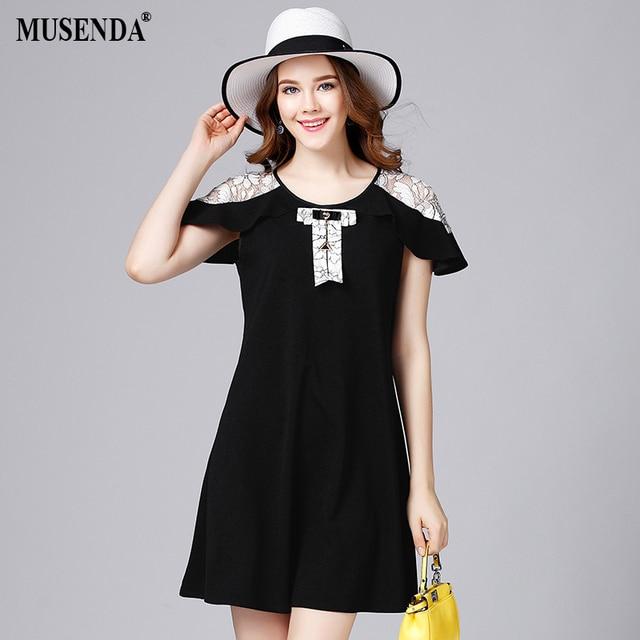 MUSENDA Women Lace Patchwork Knitting Short Dress Plus Size 5XL 2017 Summer  Sundress Lady Brief Cute 038fe9a38ec2