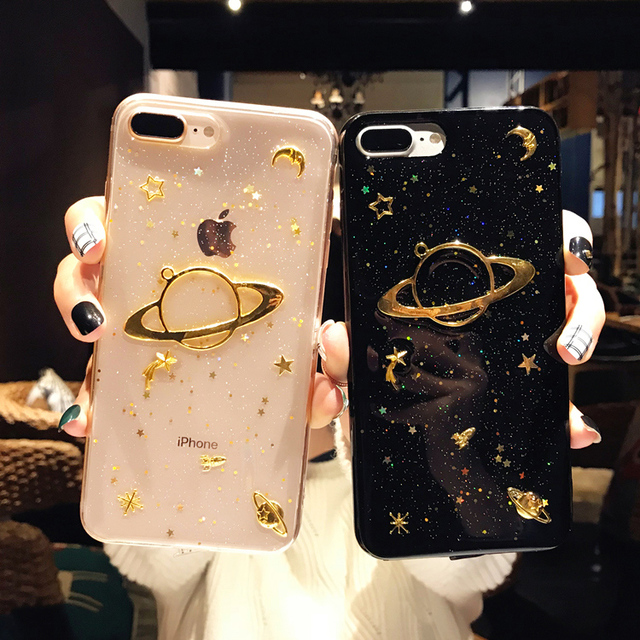 big sale fa060 da843 US $2.93 35% OFF|6 6S Plus Phone Case For iPhone 7 Cases Saturn Transparent  Silicone Cover For iPhone 8 Covers Soft TPU glitter For iPhone X Case-in ...