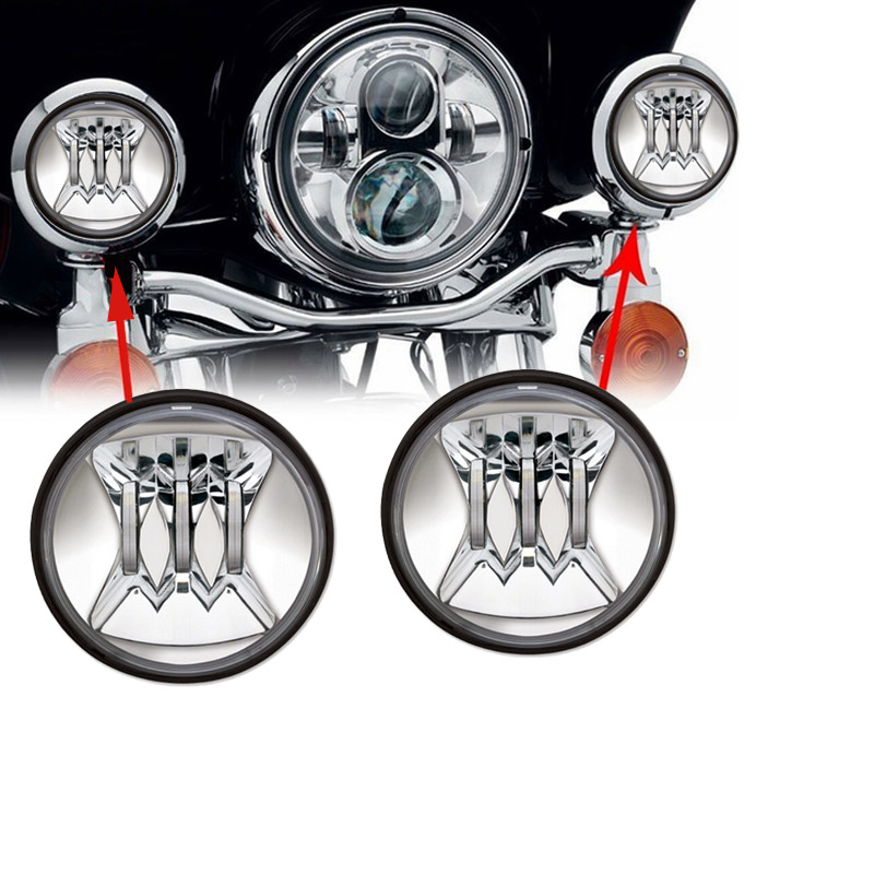 """4.5"""" Inch Led Fog Light Passing Lamp Fit Motorcycle Harley Street Glide Touring Road king Har ley Part series"""