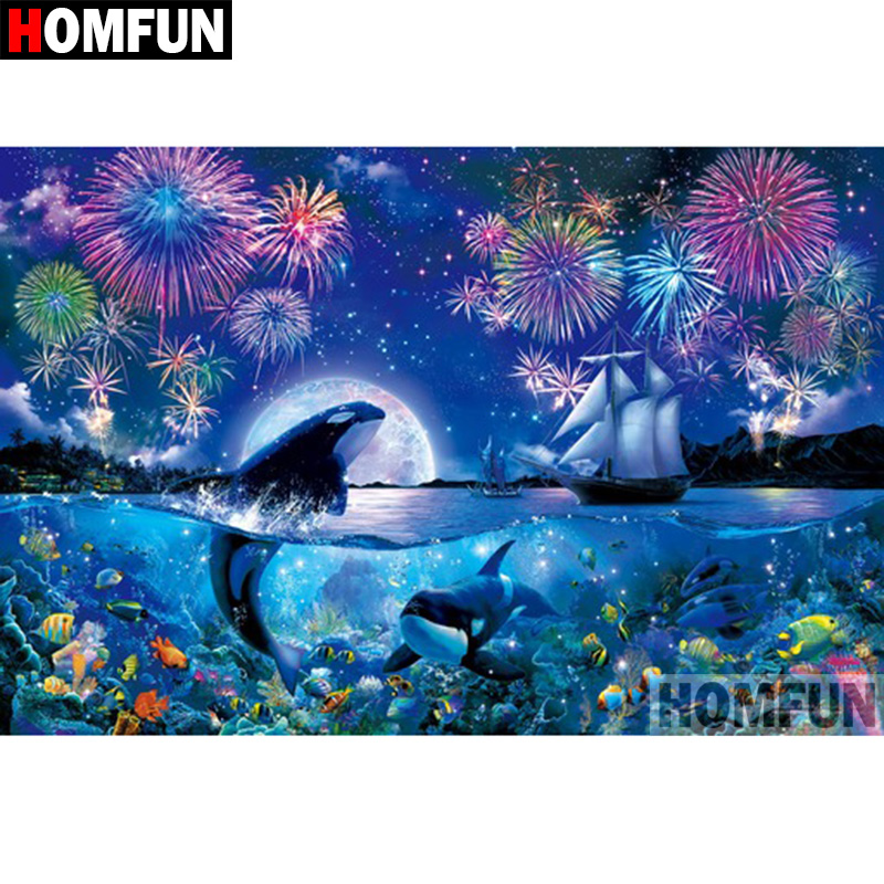 """HOMFUN 5D DIY Diamond Painting Full Square/Round Drill """"Animal dolphin"""" 3D Embroidery Cross Stitch gift Home Decor A00728"""