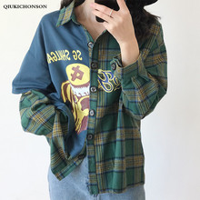 Harajuku Japanese Streetwear Cartoon Print Spliced Women Plaid Shirt Long Sleeve False Two Piece Shirts Casual Tops Plus Size
