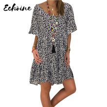 Echoine Black/Red/Rose Loose Scoop Neck Floral Print Dress Women Summer Half Ruffled Sleeve Casual Loose Short Lovely Dresses цена