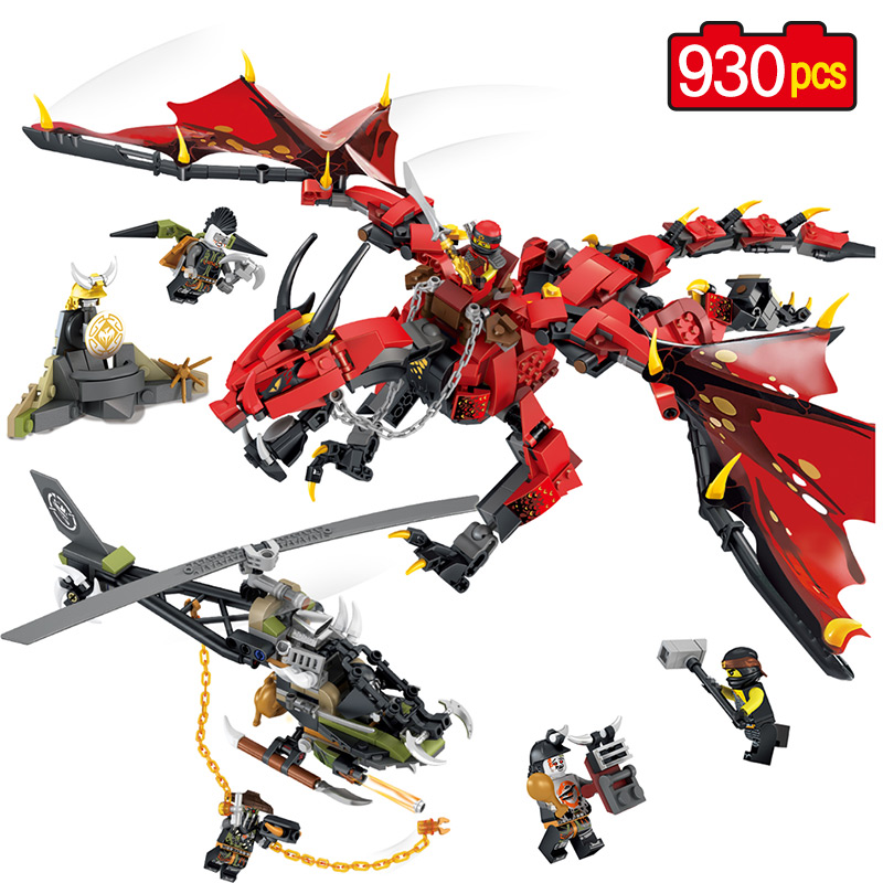 Movies Flame Spys God RED Dragon Helicopter Building Blocks Compatible legoed Ninjago Knights Figures Arms Bricks Toys For Boys