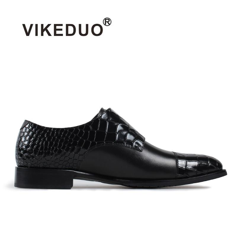 Vikeduo 2019 Handmade Hot Designer Crocodile Fashion Wedding Party Brand Casual Male Shoe Genuine Leather Mens Monk Dress Shoes