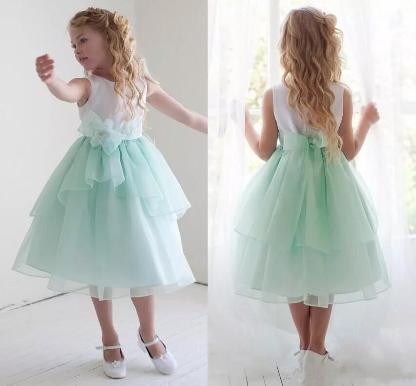 New Sky Blue Flower Girl Dresses for Wedding Sleeveless Bow Sash A Line Tea Length Pageant Dresses blue sky чаша северный олень