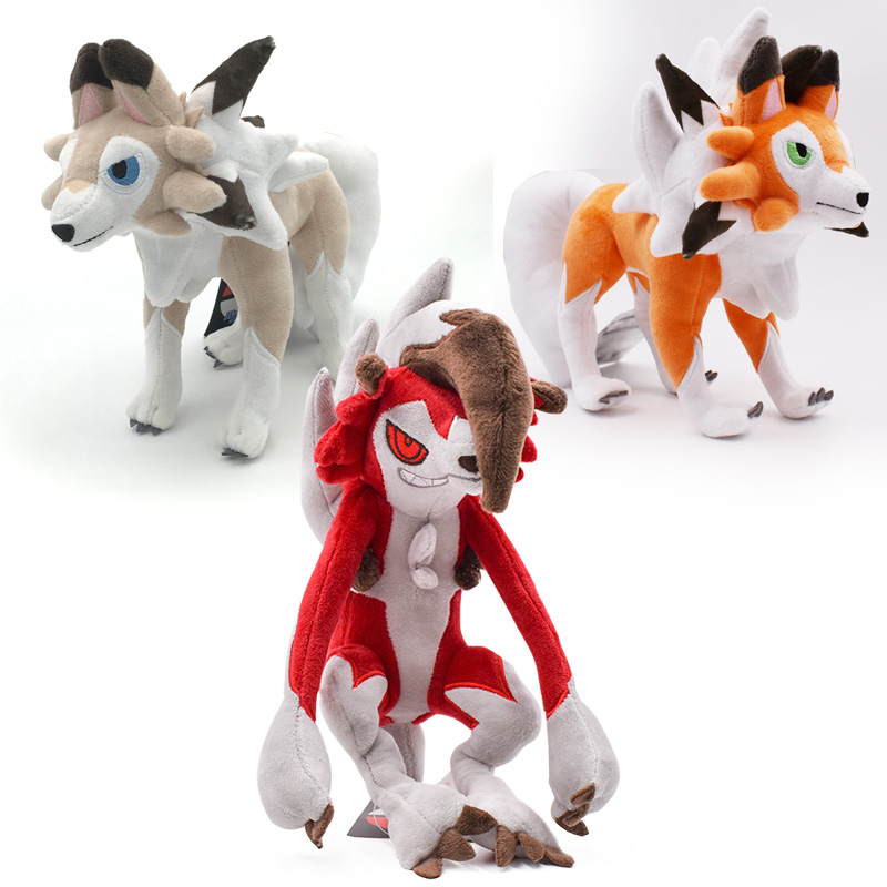 3 Styles Sun/Moon Alola Solgaleo Lunala Lycanroc Dusk & Lycanroc Daytime & Lycanroc Night Plush Doll Soft Animal Hot Toys