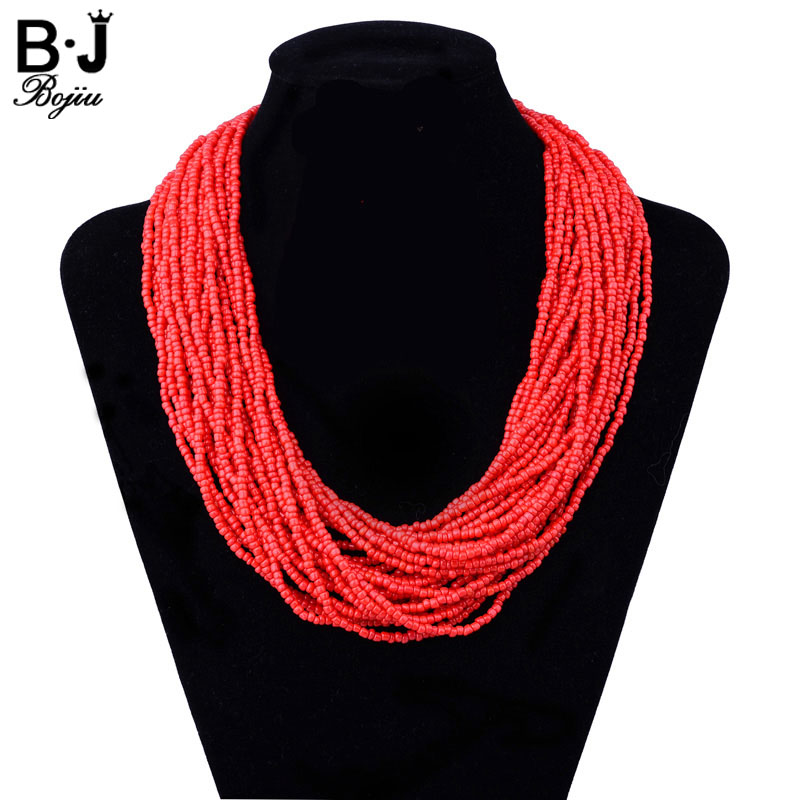 Bojiu Beaded Necklace Fashion Jewelry Handmade Bohemia Seed Bead Layer Necklace Woman Beads For Women Statement Necklace NKS199