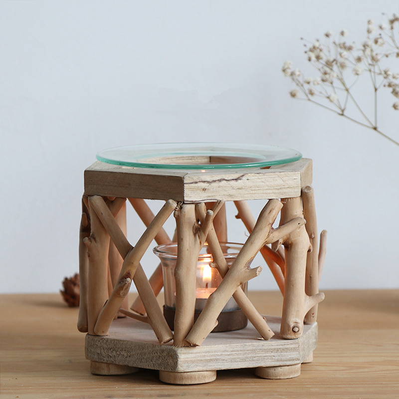 Solid wood household essential oil incense wood holder candle aloe candle holder tea ceremony tea leaves bedroom incense burner plywood