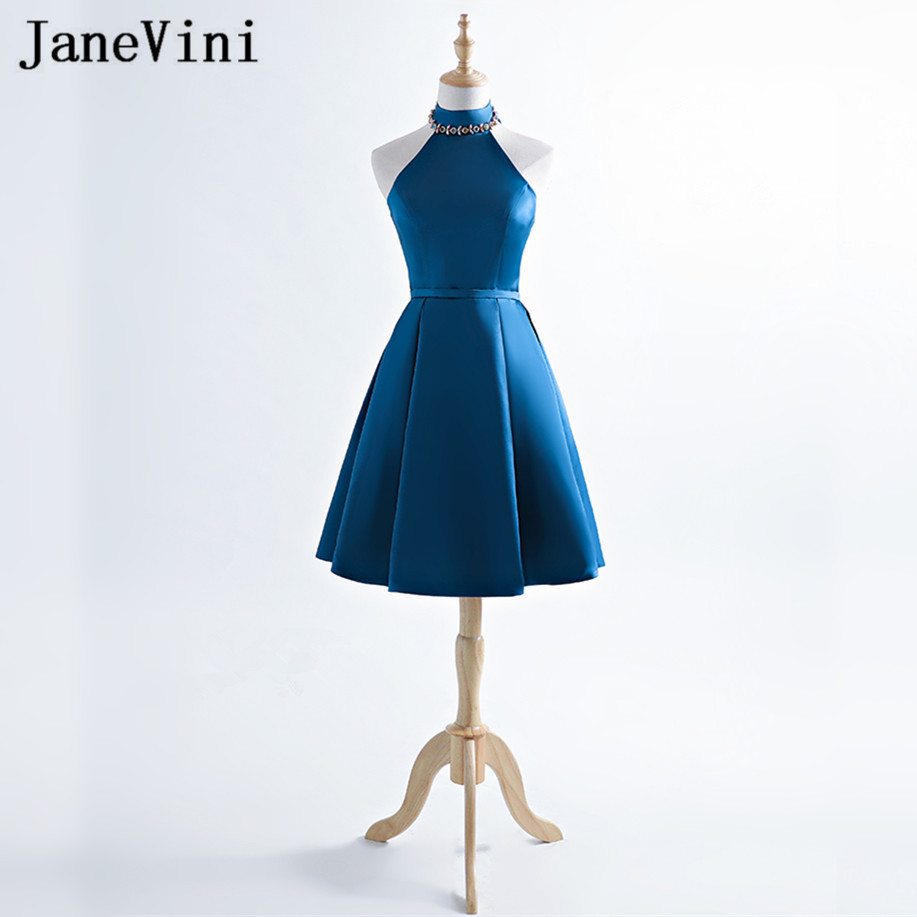 JaneVini 2018 High Neck Short Prom Graduation   Dresses   Dark Blue Crystal Sleeveless Satin Women Wedding Party   Bridesmaid     Dresses