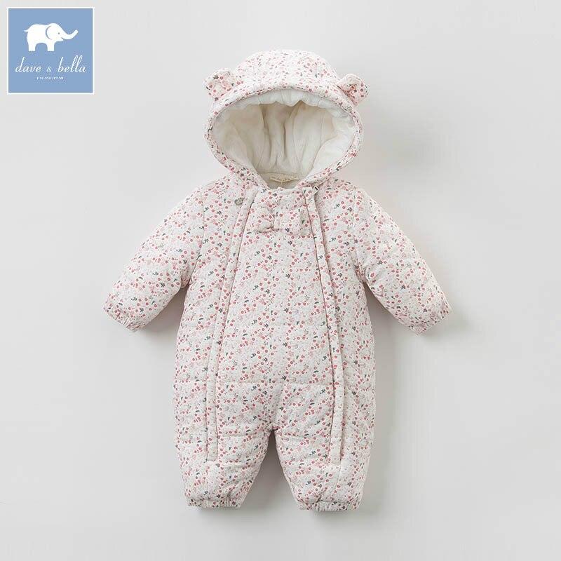 DB4293 dave bella winter new born baby girls fashion romper children cute romper baby 1 piece