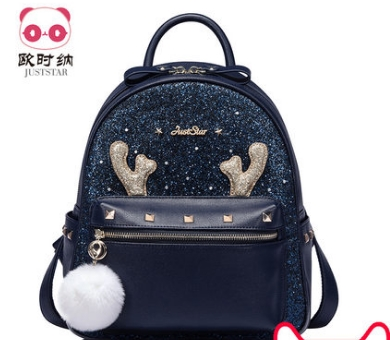 Princess sweet  lolita JUSTSTAR bag Autumn and winter Sequin collage wind backpack strap hair ball Korean Students women 171552 rdgguh backpack bag new of female backpack autumn and winter new students fashion casual korean backpack