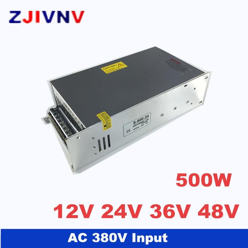 500W switching power supply output 12v 24v 36v 48v input 380vac power supply 12v 40A, 24V 20A, AC-DC