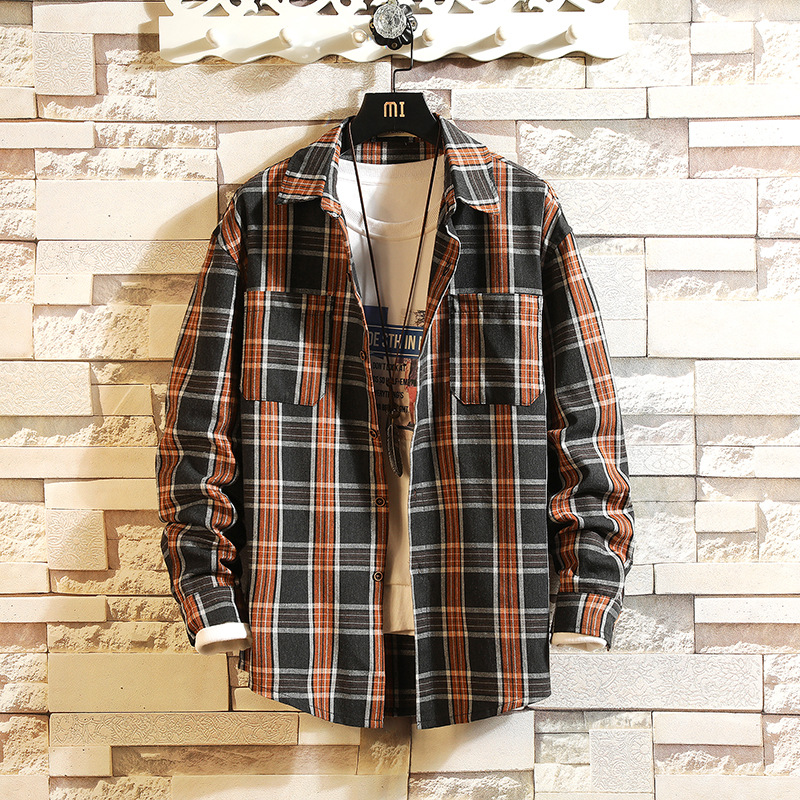 Plaid High Quality Janpan Style 2019 Spring Long Sleeve Shirt Men Casual Plus Asian Size M-5XL