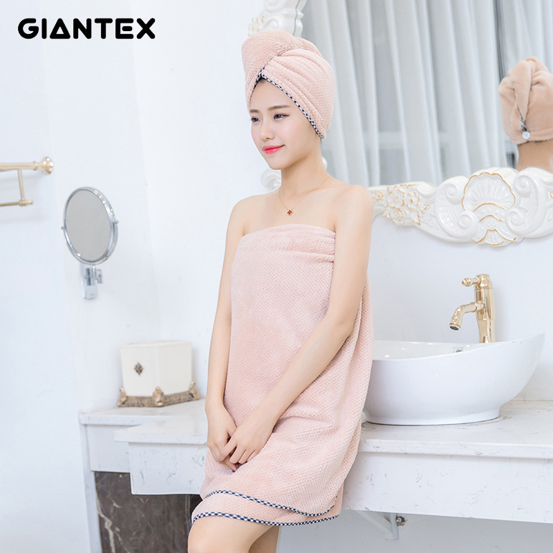 GIANTEX 70x140cm Polyester Cotton Women Bathroom Super Absorbent Quick drying Microfiber Thick Bath Towel Beach Towel