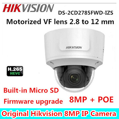 Original Hik English Version DS-2CD2785FWD-IZS 8MP WDR Vari-focal Network Dome Camera with POE IR IP67 IK10 Mic Built-in camera free shipping in stock new arrival english version ds 2cd2142fwd iws 4mp wdr fixed dome with wifi network camera