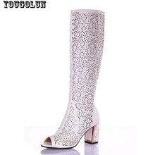 สตรีรองเท้าแตะเข่าสูงผู้หญิงบู๊ทส์ในช่วงฤดูร้อนเซ็กซี่แฟชั่นรองเท้าส้น(7เซนติเมตร)หญิงสีน้ำเงินสีขาวสีดำg ladiatorบู๊ทส์เปิดนิ้วเท้ารองเท้า