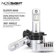 1:1 DESIGN NOVSIGHT H7 Led H4 Car Headlight Bulbs H11 H16JP 9005 9006 9012 P13 PSX24W PSX26W 50W 10000LM 6500K Auto Headlamp(China)