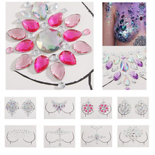 1PC Boho 3D Glitter Juwelen Borst Tattoo Stickers Kristal Body Art Decor Bindi Zelfklevende Gems Tattoos Party Stage make-up(China)