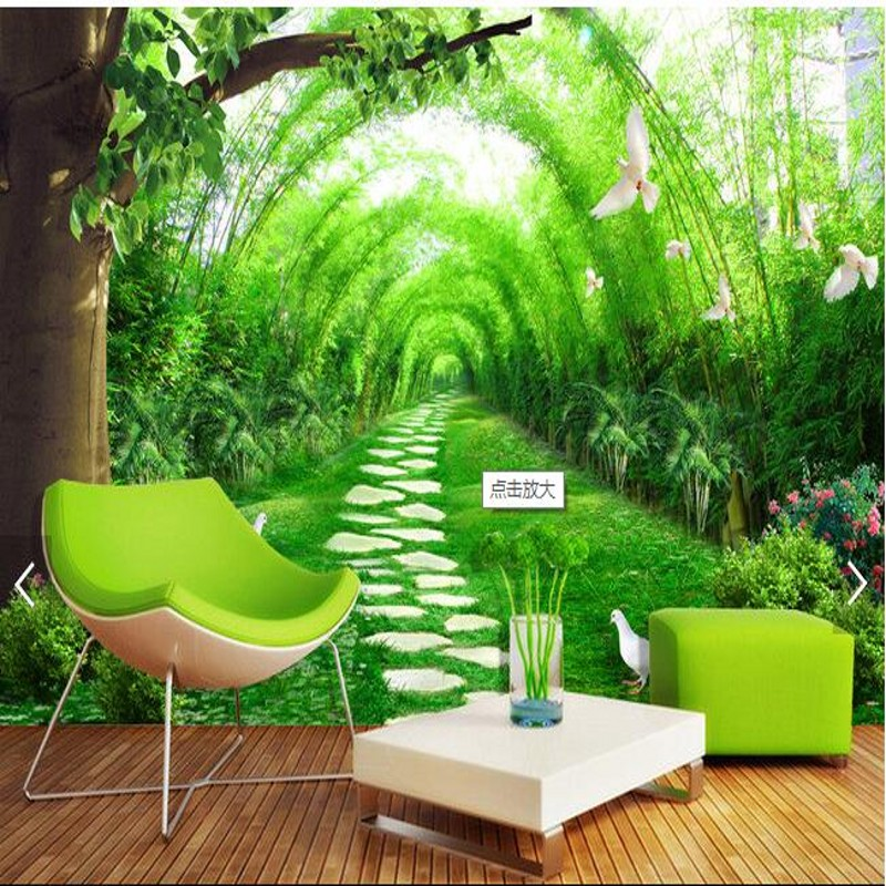 Beibehang custom wallpaper fresh bamboo road 3D stereo TV background fashion bamboo eon avenue pap de de de