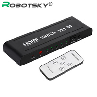 3D 1080p 5 Ports 5 in 1 Out HDMI Audio Video Switch Converter HDMI switch Switcher 5x1 with IR Remote for PC DVD XBox Projector