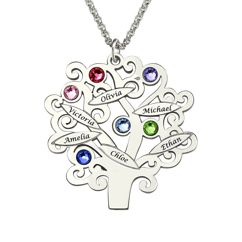 Wholesale Sterling Silver  Family Tree Necklace Mothers Necklace with Birthstone Grandmas Gift Family Tree Name NecklaceWholesale Sterling Silver  Family Tree Necklace Mothers Necklace with Birthstone Grandmas Gift Family Tree Name Necklace