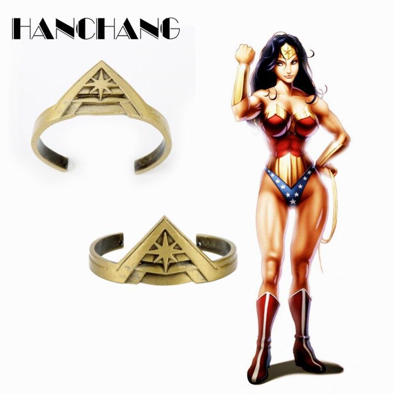 Wonder Woman Crown Bangle Movie Jewelry Bracelets for Women Girls Bangles&Bracelets Party Cosplay Props a Bracelet Vintage style