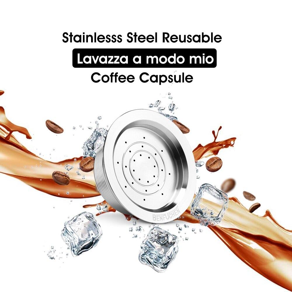 Filtro de café icafilas para Lavazza A Modo Mio máquina filtros de acero inoxidable cápsulas de café Lavazza reutilizables con cuchara de manipulación
