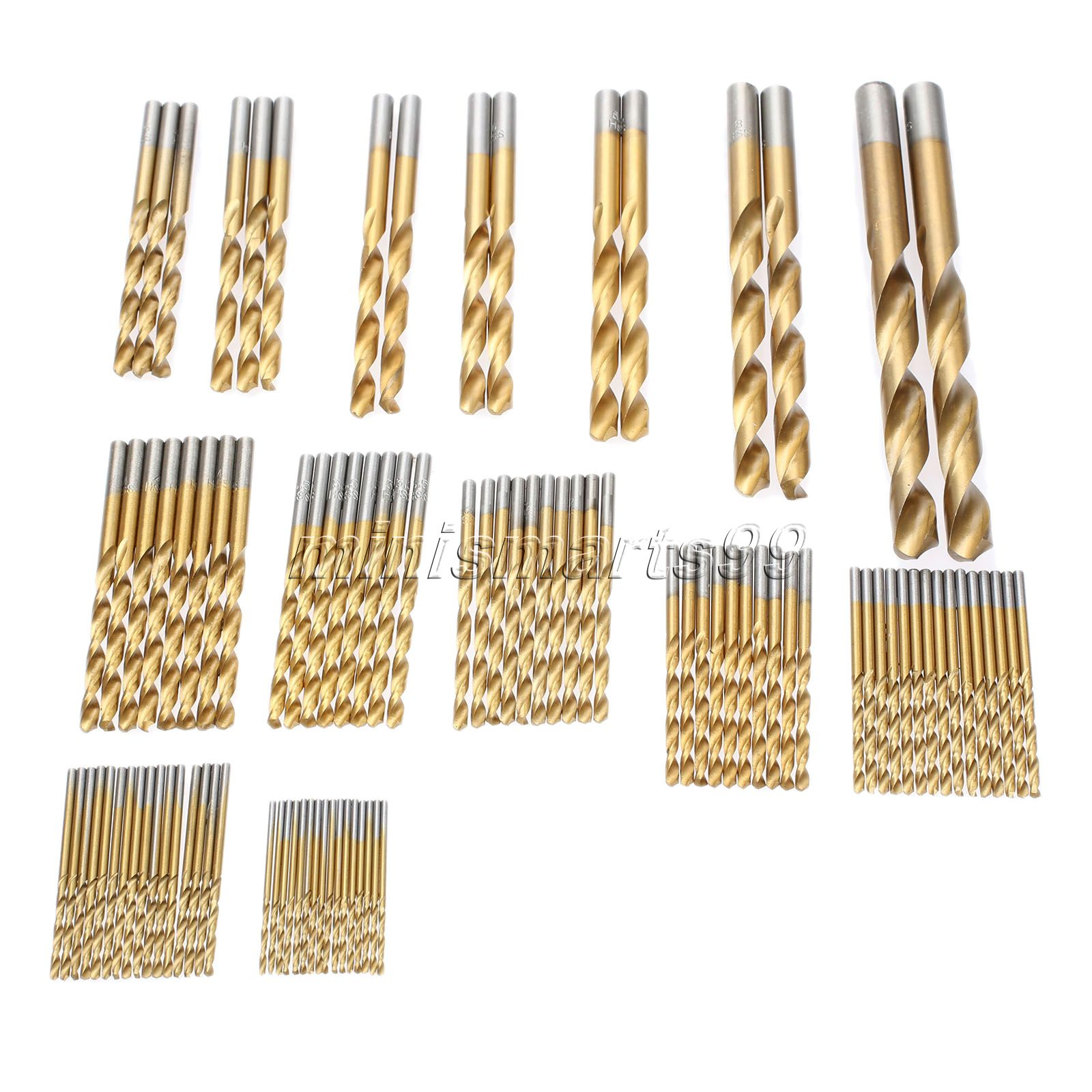 91.5mm-10mm Titanium Coated Drill Tools HSS High Speed Steel Twist Bit Set Woodworking Power Accessories