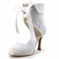 EP11055C PF Women Fashion Ivory White Cutouts Wedding Party Round Toe Ribbon High Heel Lace Up
