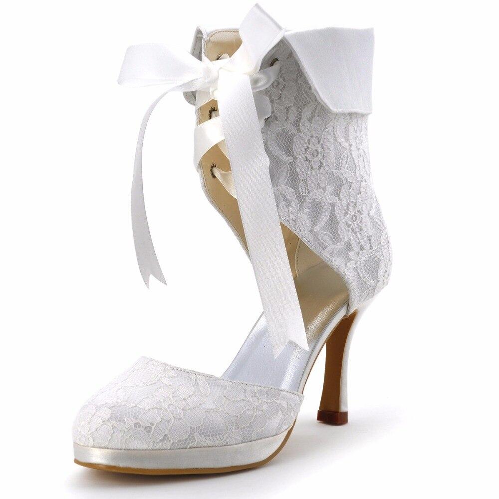 EP11055C-PF Women Bride Ivory White Cutouts Wedding Party Round Toe Ribbon High Heel Lace-up Satin Platform Lace Bridal Boots lace detail satin slips