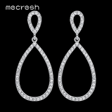 ФОТО hot! simple design top crystal white k plated bridal long drop earrings for women wedding jewelry eh517