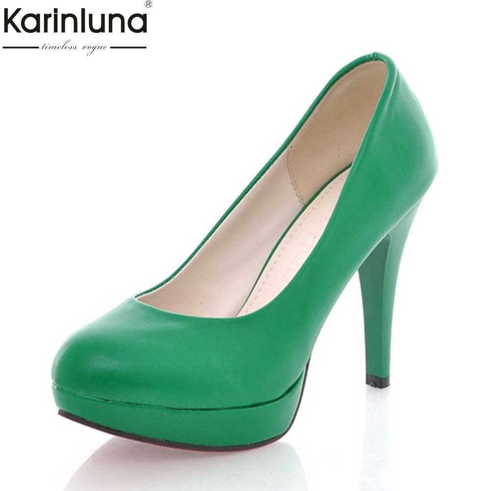 3fdc3e96a85a KARINLUNA 2018 Plus Size 32-43 Platform Slip On Spring Summer Pumps women s  Shoes Thin