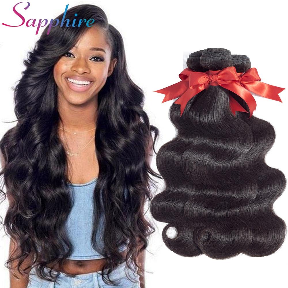 Sapphire Hair Brazilian Body Wave Hair Weave Bundles Natural Color 100% Human Hair weaving 1/3/4 Bundles Non Remy Hair Extension
