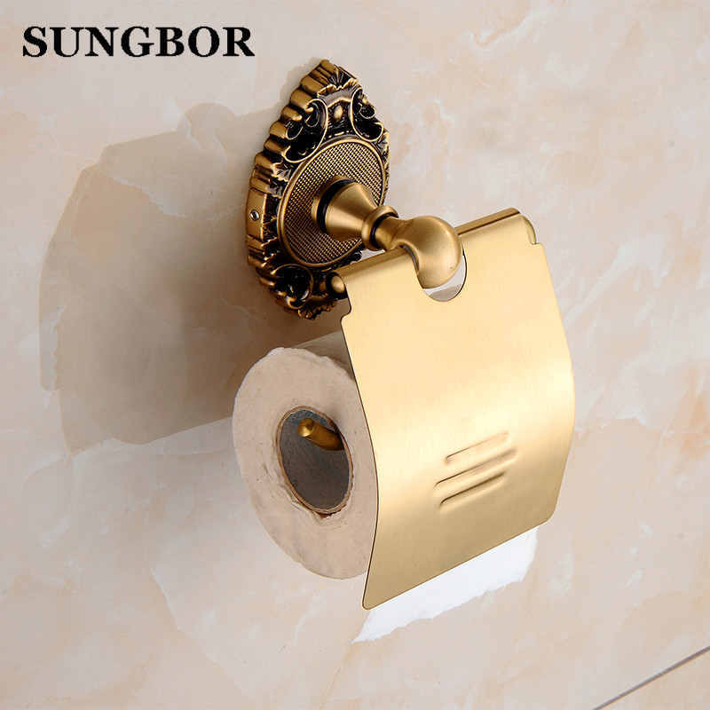 Antique brass paper towel rack europe style bathroom paper holder roll Holder tissue toilet paper box toilet accessories SH-9608 meifuju vintage toilet paper holder with shelf wall mount bathroom accessories bronze paper holders antique brass roll holder