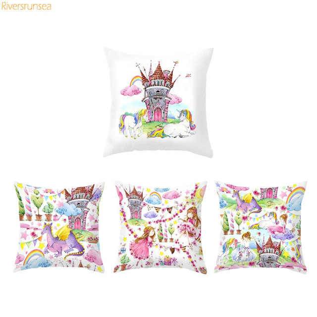 Unicorn Patterns Princess Castle Cushion Cover Sofa Decorative Magnificent Princess Decorative Pillows