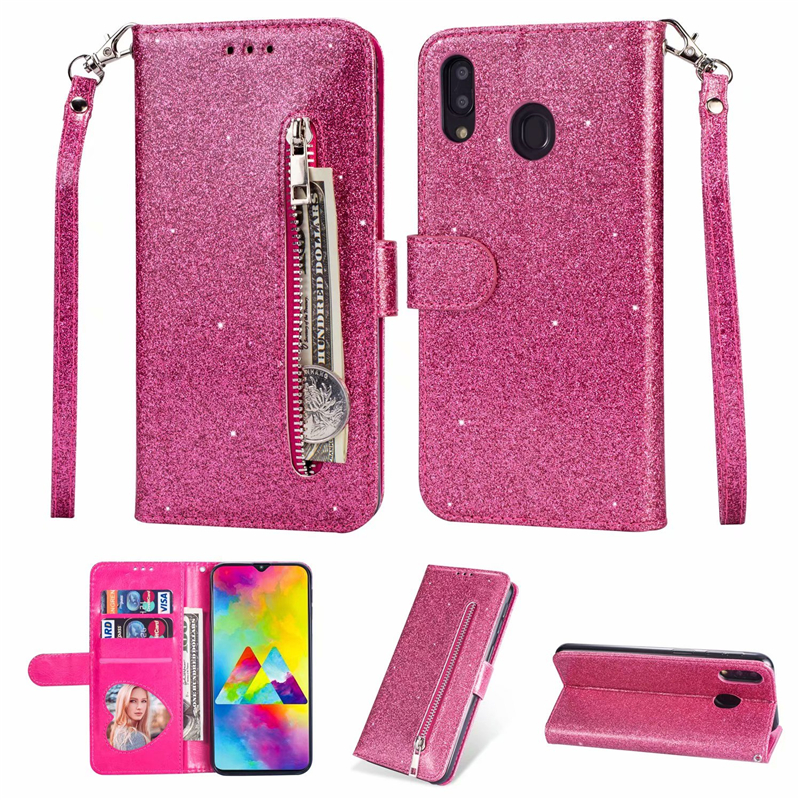 Glitter <font><b>Wallet</b></font> PU <font><b>Leather</b></font> <font><b>Stand</b></font> <font><b>Case</b></font> For <font><b>Samsung</b></font> <font><b>Galaxy</b></font> M10 M20 M30 M40 A10 A20 E A30 <font><b>A50</b></font> A60 A70 Silicone Zipper Card Slot <font><b>Flip</b></font> image
