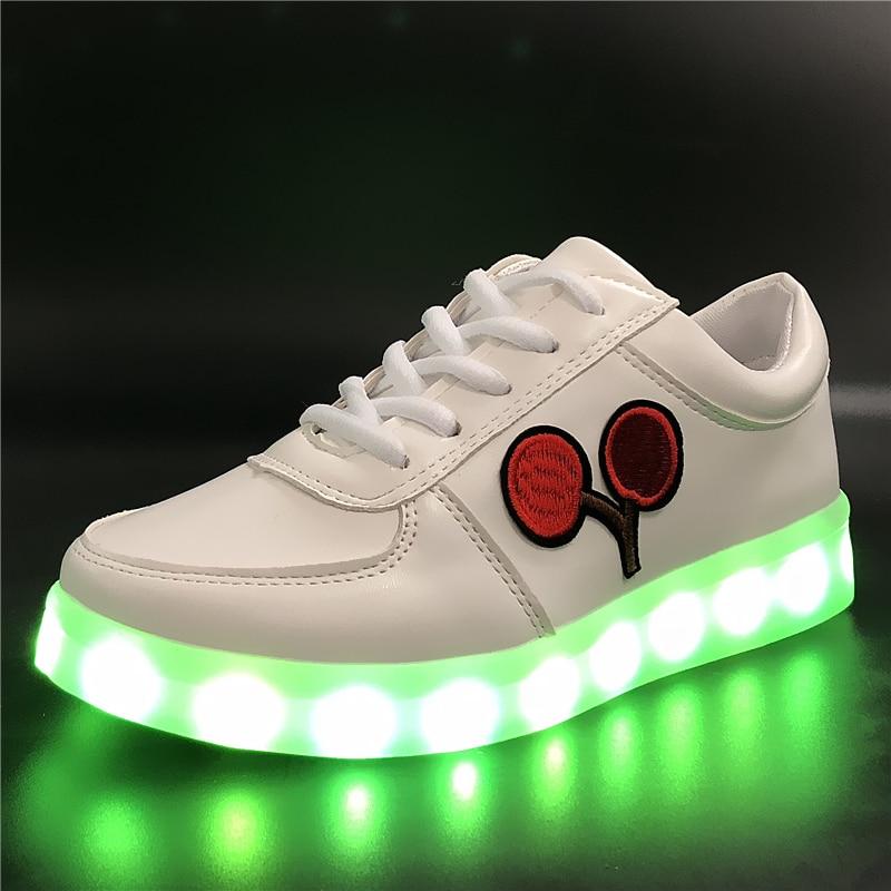 7ipupas EUR 30-44 Cherry Glowing Sneakers zapatillas Boy Girl Children Shoes USB Charge Led Shoe Kids Light Led luminous sneaker