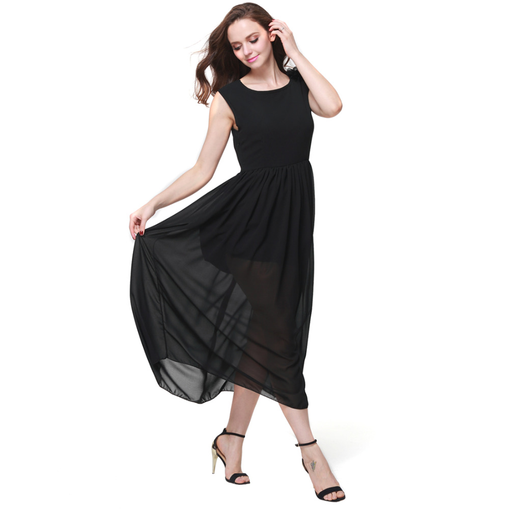 Buenos Ninos Women Chiffon Side Split Maxi Dress with Removeable Shoulder Flower High Waist Dresses Red Black White Three Colors