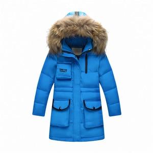 Image 3 - ロシア冬の男の子肥厚暖かいダウンジャケット 30度女の子ビッグアライグマの毛皮の襟フード付きダウン & パーカー子供ダウンコート