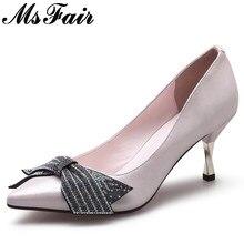 MSFAIR Shallow Crystal Pumps Shoes Woman High Heels Women Shoes Fashion Butterfly  Knot Sapato Feminino Women 8d16f5ce3b0b