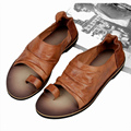 US-6-10 Men Vintage Genuine Leather Casual Beach Flat Thongs Roman Flip Flop Sandals Summer Outdoor Shoes