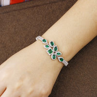 Fashion Leaves Snap Bracelet Green Crystal Bracelets For Women Bracelet Boheme Snap Button Jewelry Pulseras Mujer