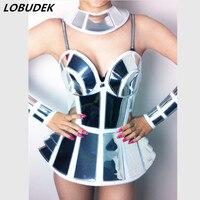 Female singer DJ silver metal mirror armor set costume Bar customize for singer dancer nightclub performance show party