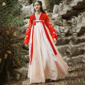 Image 2 - Hanfu Chinese Dans Kostuum Traditionele Podium Outfit Voor Zangers Vrouwen Oude Jurk Folk Festival Prestaties Kleding DC1133
