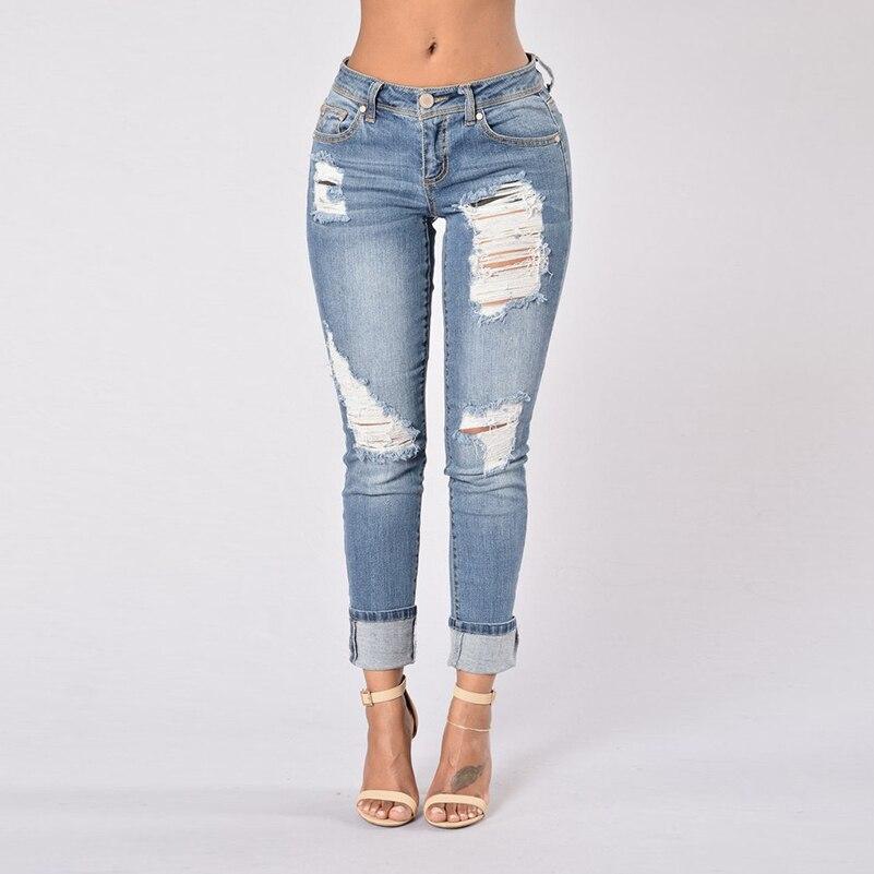 Boyfriend Streetwear Jeans Slim Jeans Girls For Women Cotton 2019 Long Solid Summer Waist Ripped Pants Fall Clothing Denim Low