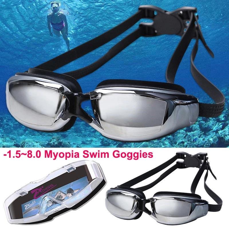 Myopia Nearsighted Swimming Goggles Anti-fog UV Prescription Optical Glass New