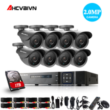 1080P HDMI CCTV 8CH AHD DVR 1080P 2.0 Megapixels Enhanced IR Security Camera 3000TVL Dome CCTV Camera Security System 1TB HDD