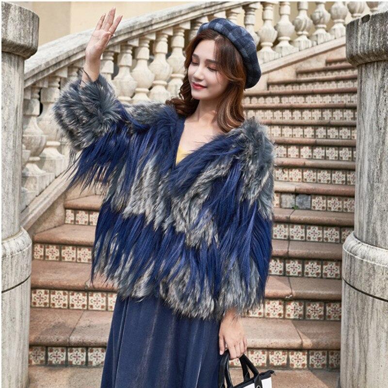 Laveur Cheveux De Royal Bleu Fourrure Raton Fox Manteau Manteaux Chaud rose gris Chèvre Hiver kaki Femme Vestes Naturel Femmes Chien 2018 Pardessus Clair Épissage Doux Réel 5wXZAxq