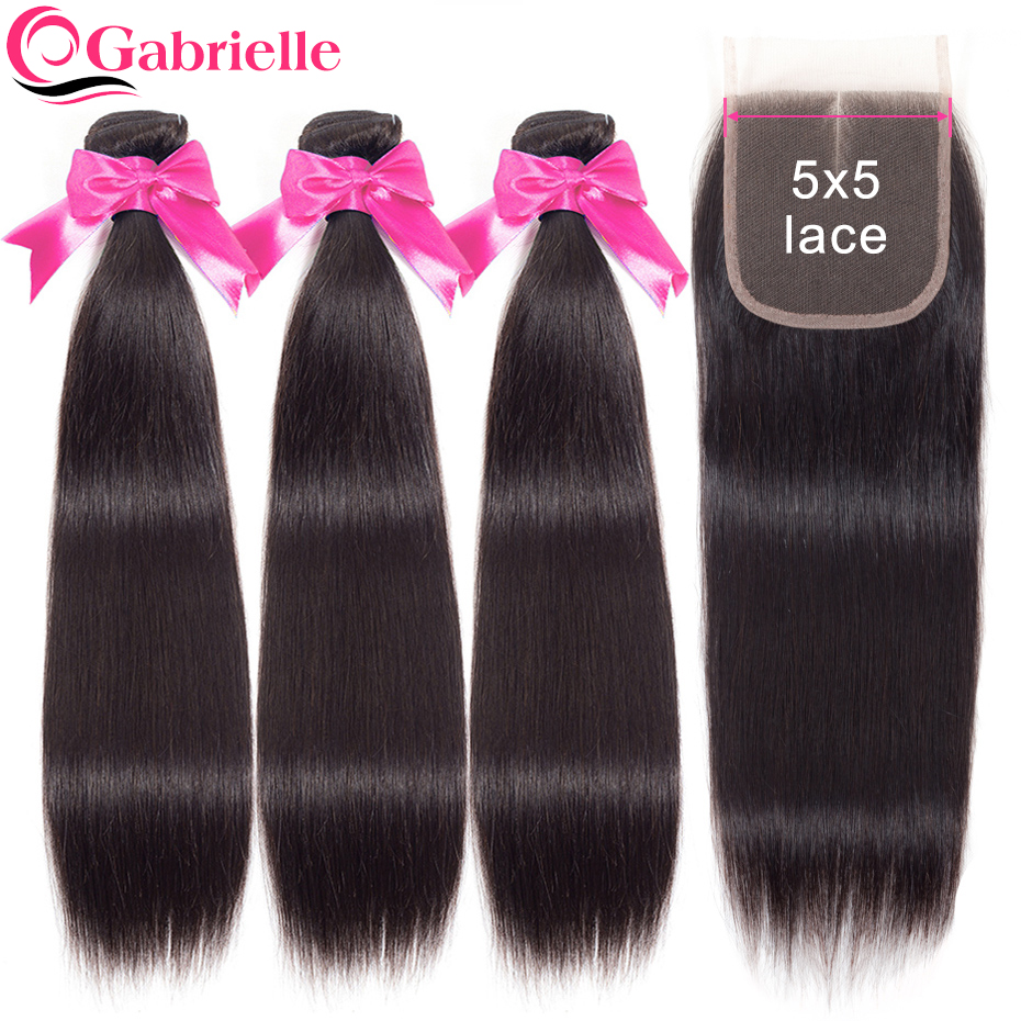 Gabrielle 5x5 Lace Closure with Bundles Brazilian Straight Human Hair Natural Color 100 Remy Hair Weaves