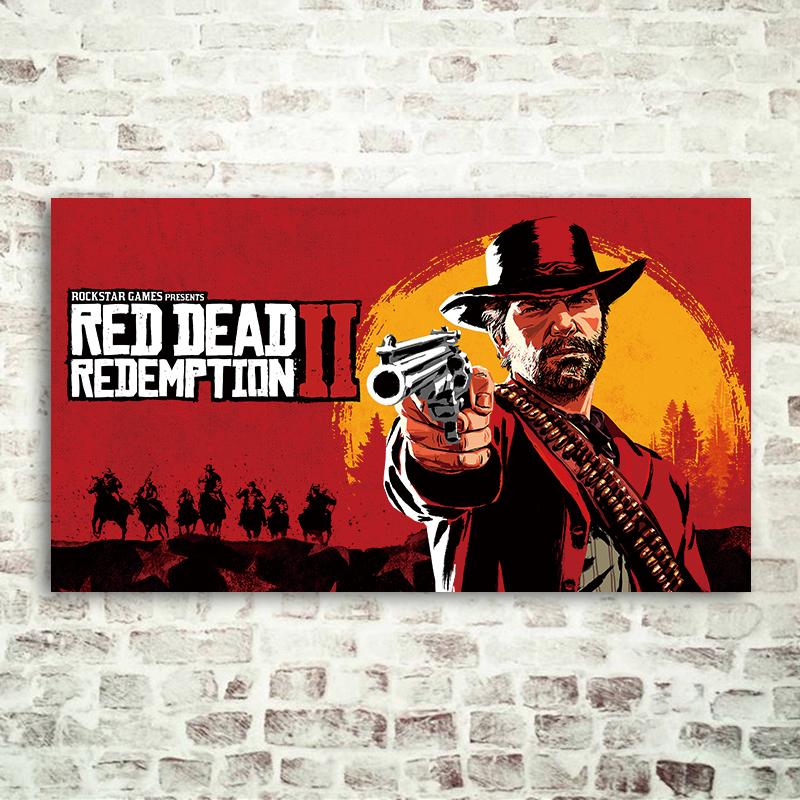 Scroll Poster Game Paintings Cloth Wall Decorative Gift For Red Dead Redemption